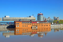 Floating landing stage on the River Moscow Stock Photography