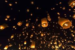 Floating Lantern Festival Loy Krathong Yi Peng Lanna at Chiang Mai Thailand Stock Photos