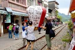 Floating lantern Festival in Taipei,Taiwan Stock Photo