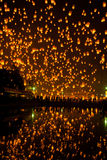 Floating lantern. Firework Festival in Chiangmai Thailand Royalty Free Stock Image