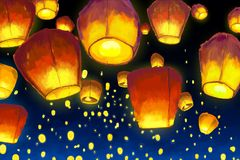 Floating lantern in night sky Royalty Free Stock Photography