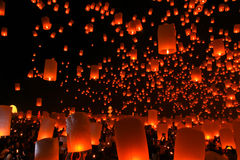 Floating lantern in Thailand Royalty Free Stock Photo