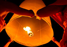 Floating lantern in Thailand Royalty Free Stock Images