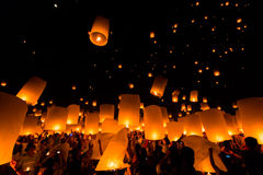 Floating lantern in Thailand Royalty Free Stock Image