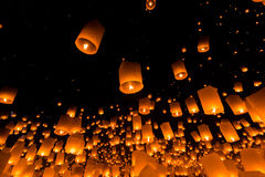 Floating lantern in Thailand Royalty Free Stock Photography