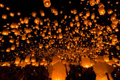 Floating lantern in Thailand Stock Images