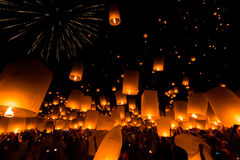 Floating lantern in Thailand Stock Photography