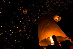 Floating lantern in Thailand. Floating lantern in Loy Kratong festival, Chiangmai province of Thailand Royalty Free Stock Photos