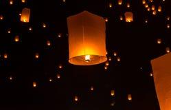 Floating Lantern on Yee Peng festival, thai lanna traditional Stock Photo
