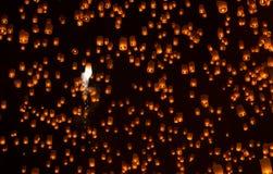 Floating Lantern on Yee Peng festival, thai lanna traditional Stock Photos