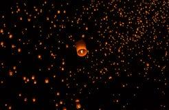 Floating Lantern on Yee Peng festival, thai lanna traditional Stock Photography