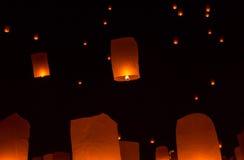 Floating Lantern on Yee Peng festival, thai lanna traditional Stock Image