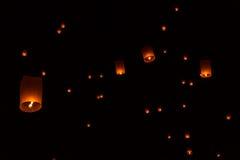 Floating Lantern on Yee Peng festival, thai lanna traditional Royalty Free Stock Image