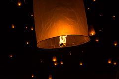 Floating Lantern on Yee Peng festival, thai lanna traditional Royalty Free Stock Photography