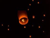 Floating Lantern on Yee Peng festival, thai lanna traditional Royalty Free Stock Photos