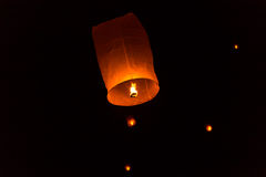 Floating Lantern on Yee Peng festival, thai lanna traditional Royalty Free Stock Photo