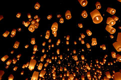 Floating lantern, Yi Peng balloon Stock Images