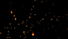 Floating lantern, Yi Peng Balloon Festiva. L in Chiangmai Thailand royalty free stock photo