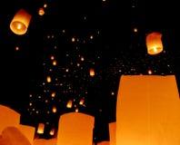Floating lantern, Yi Peng Balloon Festival royalty free stock photography