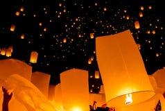 Floating lantern, Yi Peng Balloon Festival. In Chiangmai, Thailand royalty free stock images