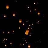 Floating lantern, Yi Peng Balloon Festival. In Chiangmai Thailand royalty free stock photos