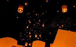 Floating lantern, Yi Peng Balloon Festival Royalty Free Stock Images