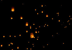 Floating lantern, Yi Peng Balloon Festival. In Chiangmai Thailand stock image