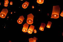 Floating lantern, Yi Peng Balloon Festival in Chiangmai Thailand Royalty Free Stock Photo