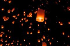 Floating lantern, Yi Peng Balloon Festival in Chiangmai Thailand. YEE PENG FASTIVAL Floating lantern in Yee Peng festival (Loy Krathong), Buddhist floating stock image