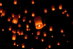 Floating lantern, Yi Peng Balloon Festival in Chiangmai Thailand Royalty Free Stock Photos