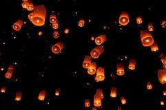 Floating lantern, Yi Peng Balloon Festival in Chiangmai Thailand Royalty Free Stock Photography