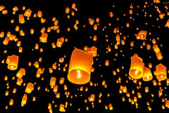 Floating lantern, Yi Peng,Firework Festival. In Chiangmai Thailand Royalty Free Stock Photography