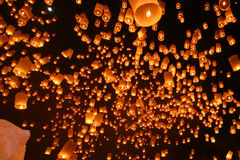 Floating lanterns. Floating many lanterns to the sky Stock Images
