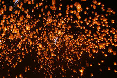 Floating lanterns. Floating many lanterns in the sky Royalty Free Stock Photo