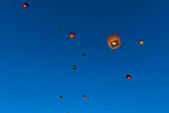 Floating lanterns Royalty Free Stock Images
