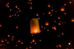 Floating lanterns or Balloon on the sky background. Floating by Thai traditions such as Loy Krathong stock photography