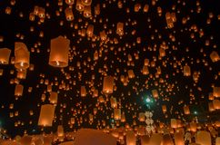 Floating lanterns or Balloon on the sky background. Floating by Thai traditions such as Loy Krathong stock images
