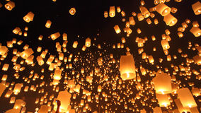 Floating lanterns ceremony or Yeepeng ceremony, traditional Lann Stock Photography