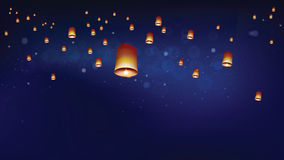 Floating lanterns into the night sky ceremony at North Thailand Stock Photography