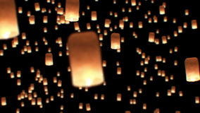 Floating Lanterns in Yee Peng Festival. Loy Krathong Celebration in Chiangmai, Thailand. Beautiful 3d animation. HD 1080 stock video footage