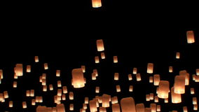 Floating Lanterns in Yee Peng Festival. Loy Krathong Celebration in Chiangmai, Thailand. Beautiful 3d animation. Start stock footage