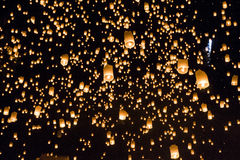 Floating lanterns yeepeng or loi krathong festival at Chiang Mai Royalty Free Stock Photos