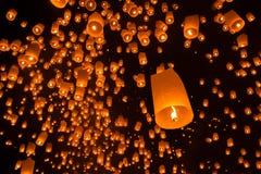 Floating lanterns in Yi Peng festival Stock Photos