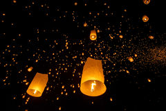 Floating lanterns during Yi Peng Festival in Chiang Mai. Thailand Royalty Free Stock Photo
