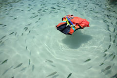 Floating lifesaver. LIfesaver floating in on the sea with fish circling it Stock Photo