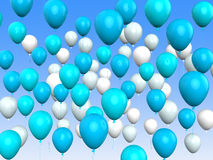 Floating Light Blue And White Balloons Mean Stock Image