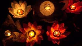 Floating Lotus Flower Paper Lanterns On Water stock video footage