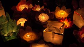 Floating Lotus Flower Paper Lanterns On Water stock footage