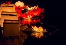 Floating Lotus Flower Paper Lanterns On Water Royalty Free Stock Photography