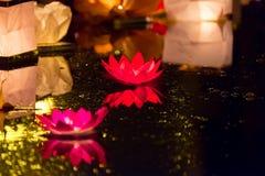 Floating Lotus Flower Paper Lanterns On Water Royalty Free Stock Photo
